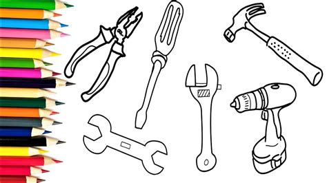 doodle how to make tools how to draw tools repair coloring pages for