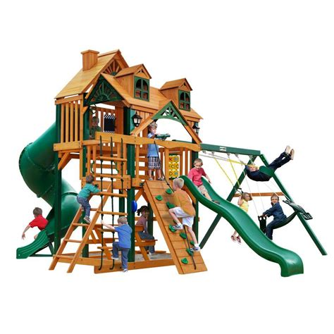 gorilla playsets malibu deluxe i swing set with timber