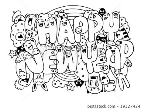 doodle happy new year doodle style happy new year sketch with monsters stock