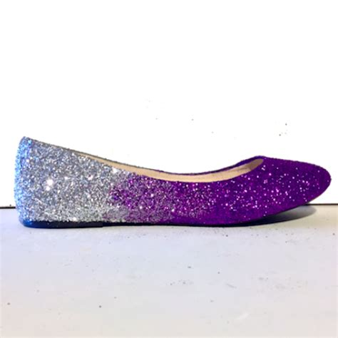 purple flat wedding shoes s sparkly purple silver ombre glitter ballet flats
