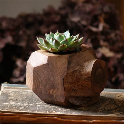 succulent holder succulent planter wood plant holder reclaimed faceted