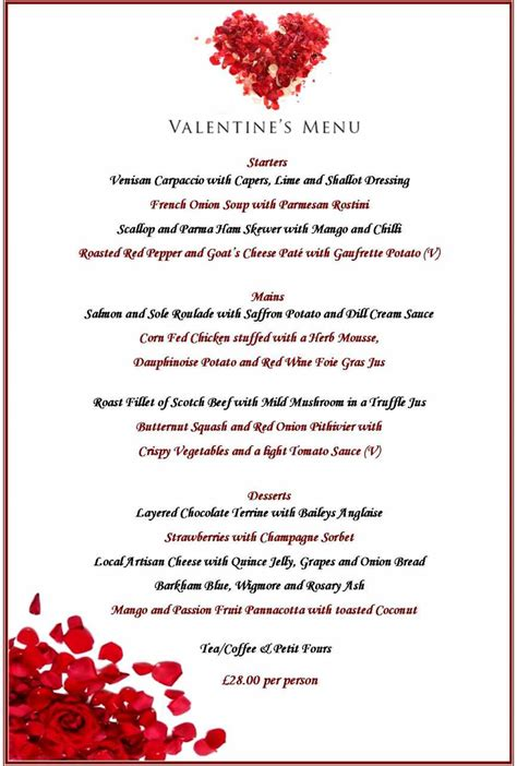 day menu celebrate s day at the 4 two rosette