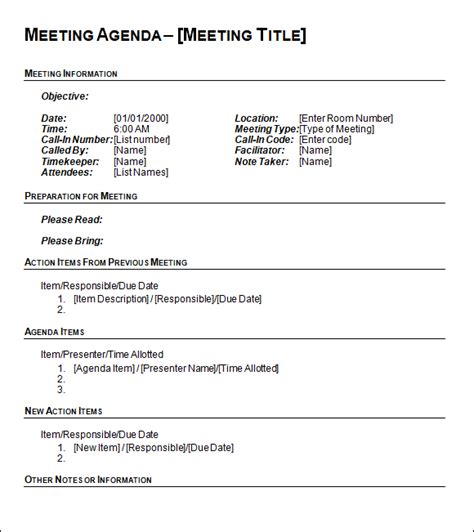 free printable business meeting agenda document template