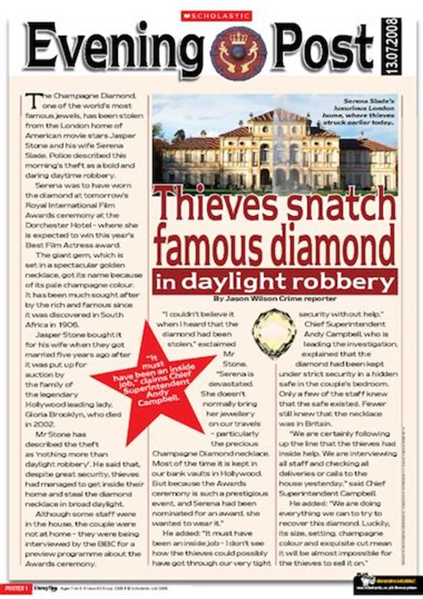 writing a newspaper article tips primary ks2 teaching the diamond theft newspaper report primary ks2