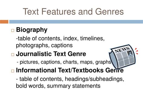 biography text presentation ppt strategies for teaching text features and text