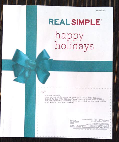Gift Card Recipient - real simple gift recipient cover
