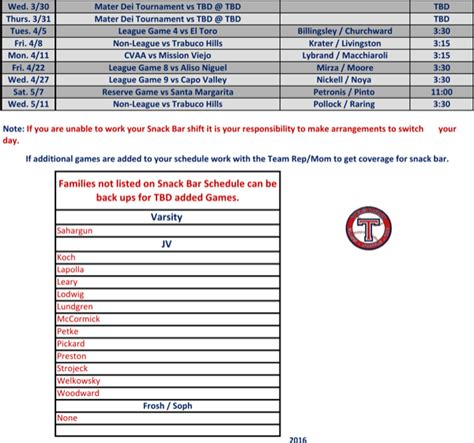 baseball calendar template baseball snack schedule template for free page