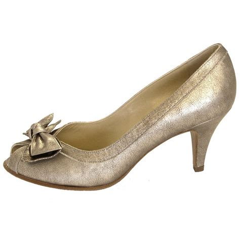 Evening Shoes by Kaiser Satyr Peep Toe Evening Shoes In Metallic