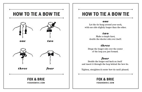 Printable Directions How To Tie A Tie | how to tie a bow tie fox brie