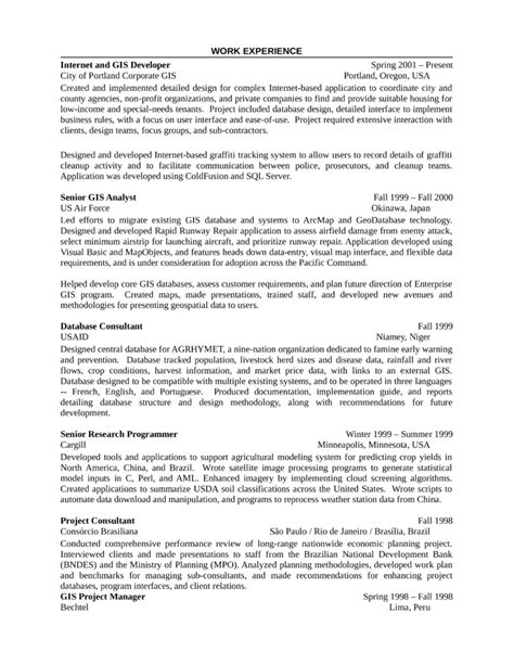 gis analyst cover letter conservation technician resume exle
