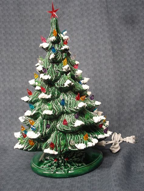 large ceramic green glazed christmas light up tree with