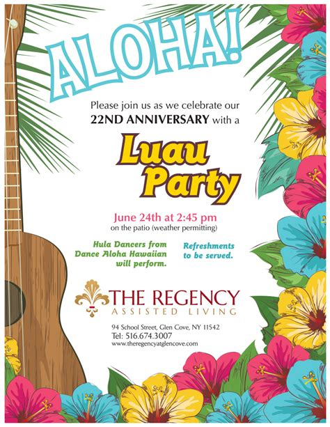 The Regency 22nd Anniversary Luau Party The Regency Assisted Living In Long Island Assisted Free Hawaiian Luau Flyer Template