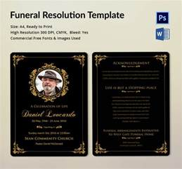 funeral resolution template 5 word psd format