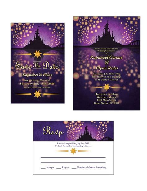 Tangled Themed Wedding Invitations tangled inspired wedding invitation save the date or