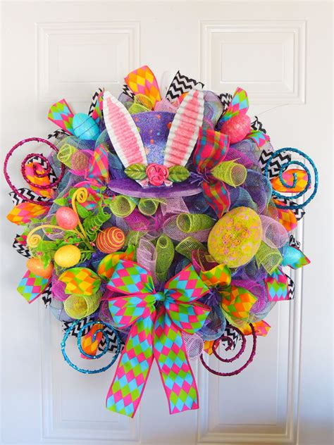 how do deco last last one purple mad hatter wreath deco mesh easter wreath