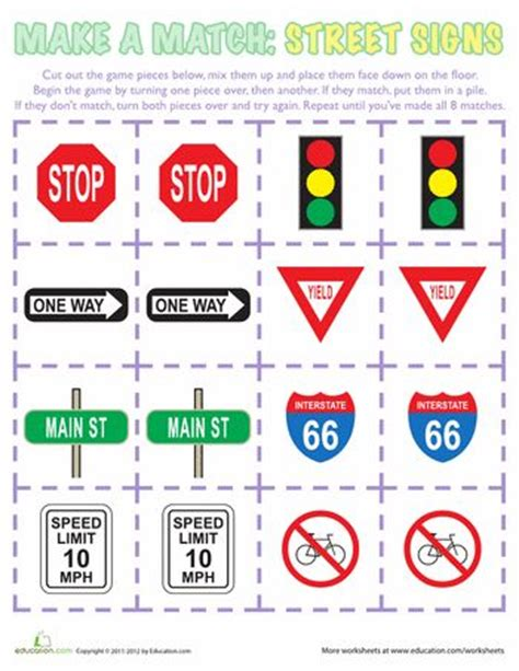 printable road safety games community signs worksheets free worksheets library