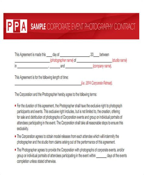 event photography contract template 9 photography contract templates free sle exle