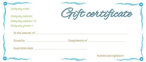 Blue Ribbons Gift Certificate Template Business Gift Certificate Template