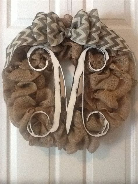 Monogram Wreath For Door by Mlrdesigns Original Custom Monogram Burlap Wreath