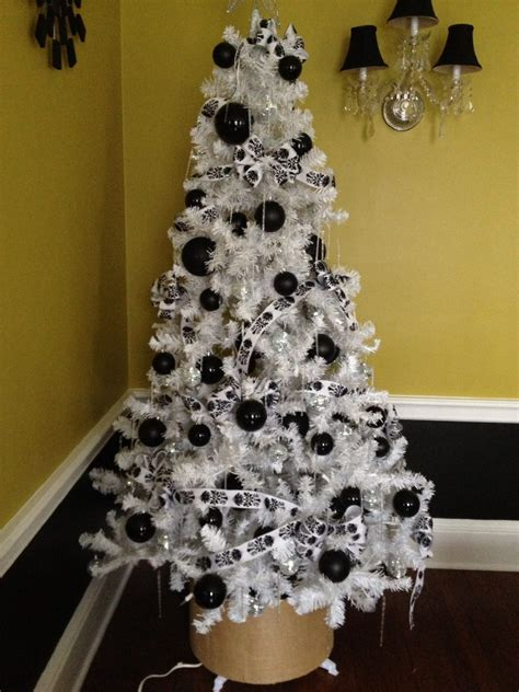 tree with black ornaments white chistmas tree with black ornament added wall