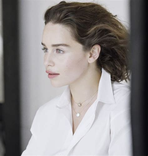 natalie brown jewellery braless emilia clarke smoulders in a plunging white shirt