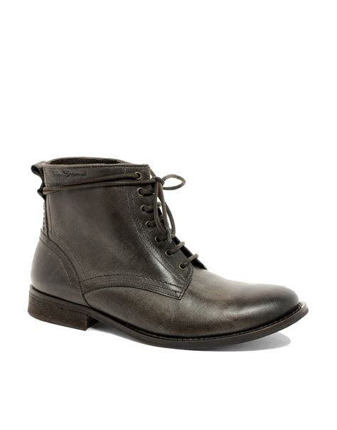 ben sherman leather boots in brown for lyst