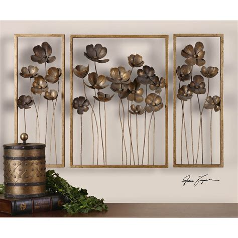 uttermost home decor metal tulips set of three uttermost wall sculpture wall