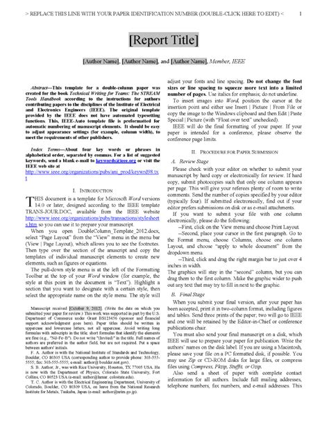 scientific paper word template appendix d file template for a column paper