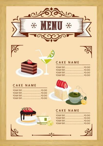 dessert menu template cake beverages icons classical