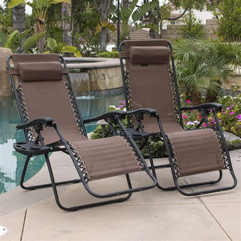 2 pcs brown zero gravity lounge chairs recliner outdoor
