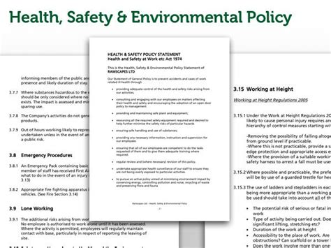environmental health and safety plan template ramscapes health and safety policy commercial