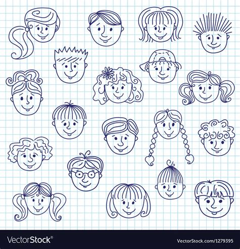 free vector computer doodle hildren doodle faces royalty free vector image