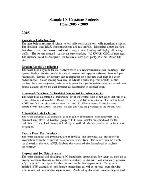 capstone outline template sle capstone projects from 2005