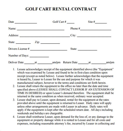 Golf Club Rental Agreement Template 8 Rental Contract Templates Sle Templates
