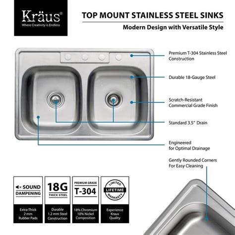 Kraus All In One Drop In Stainless Steel 33 In 4 Hole Double Bowl Kitchen Sink Ktm33 The Home Kraus Sink Templates