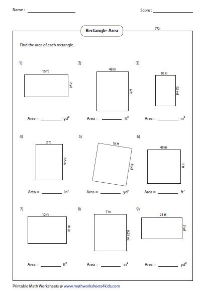 printable finding area worksheets rectangle worksheets