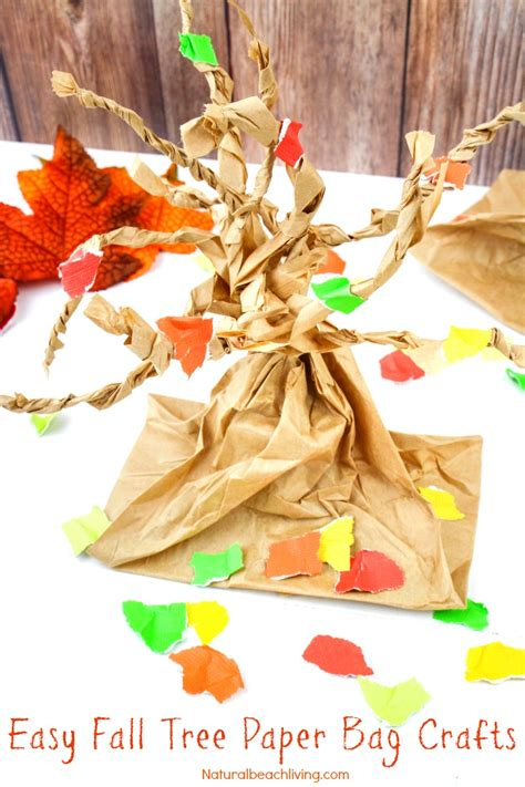 Paper Bag Tree Craft - fall tree paper bag crafts living