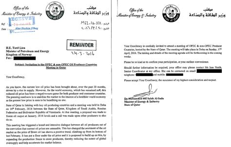 Offer Letter From Qatar Petroleum Qatar S Freeze Letter To Reveals Logic Of Doha Deal Business World
