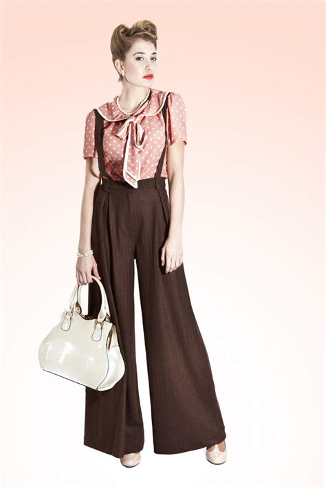 swing mode stil 1940s glenda swing trousers brown suspenders for