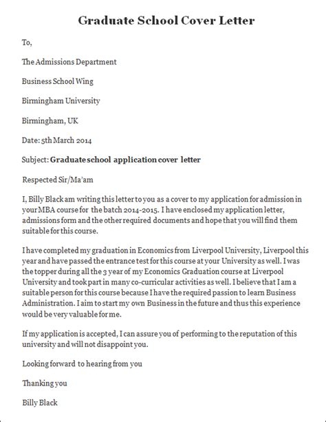 sle cover letter graduate school sle job