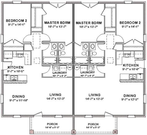Duplex Floor Plans 2 Bedroom by 2 Bedroom 2 Bath Cottage Plans Duplex House Plans