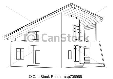 disegno casa clipart of architectural drawing at home in the perspective csp7069661 search clip