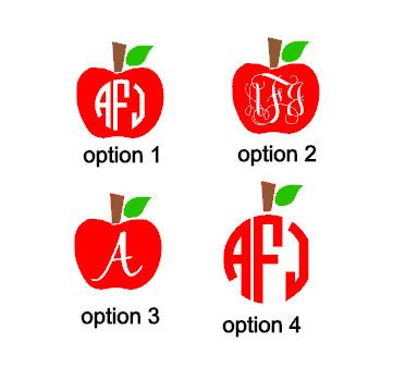 Auto Initial Decals by Teacher Apple Monogram Initial Car Decal Laptop Decal