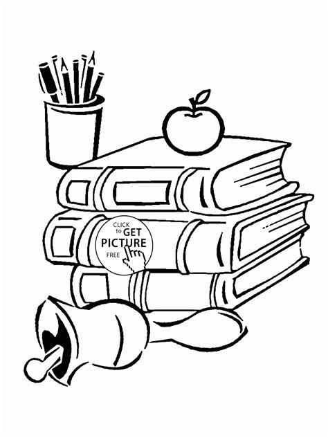 coloring pages of school books school books and supplies coloring page for kids back to