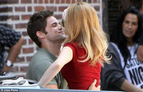 jeremy jordan pulls anna kendrick in for a kiss on the set
