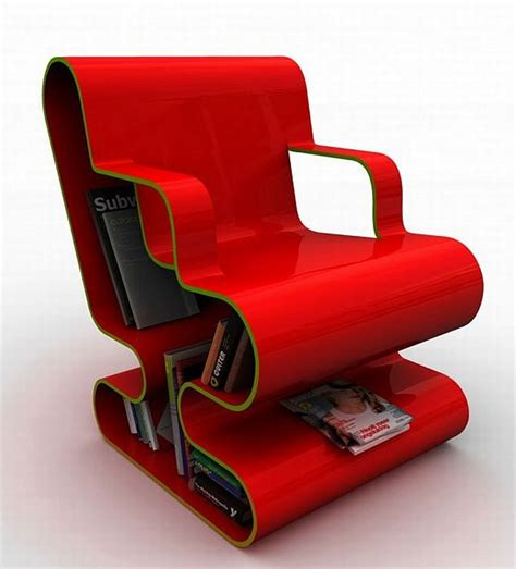 modern and colourful chair with a built in library ofo chair