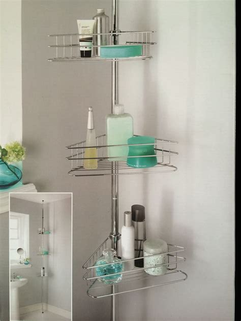 corner bathroom organizer beldray 3tier shower caddy tension rod bathroom