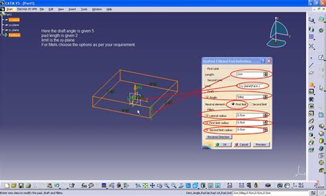 catia v5 video tutorial 2 sketch pad pocket pattern tutorial how to use the feature quot drafted filetted pad quot in