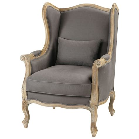 grey taupe wing chair manoir manoir maisons du monde