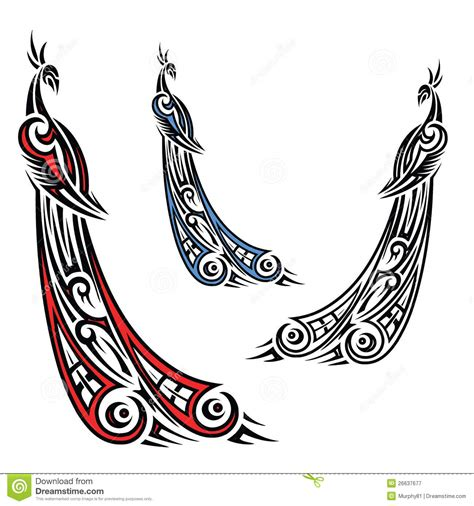 tribal peacock tattoos tribal peacock illustration stock vector image 26637677
